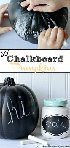 DIY chalkboard pumpkins are perfect for you OR your kids! Fun for doodling or decorating, these pumpkins are a cinch to make! @alicanwrite