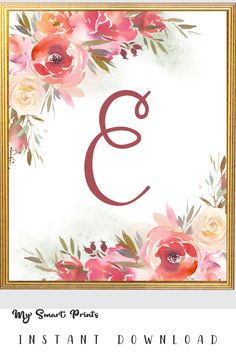 This printable artwork is a CUSTOM floral initial of your choice. I can make any letter you want and also add any name at the bottom. Pink Wall Art, Pink Walls, Nursery Art, Printable Art, Blush Pink, Art For Kids, Initials, Monogram, Lettering