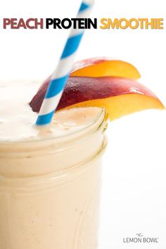 This thick and creamy peach protein smoothie will keep you satisfied for those busy days on the go. #smoothie #proteinrecipes #proteinsmoothie #proteinshake #mealreplacement #snack Protein Smoothies, Easy Smoothies, Fruit Smoothies, Smoothie Recipes, Drink Recipes, Lemon Bowl, Healthy Breakfast Options, Flax Seed Recipes, Plain Yogurt