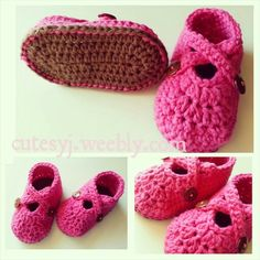 Baby Booties in pink and brown.