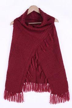 Tassel Sleeveless Knit Cape Cardigan Sweater