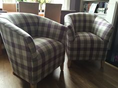 A couple of classic tub chairs in Art of the Loom Lytham Check plum fabric. Bespoke Sofas, Check Fabric, Cushion Filling, Tub Chair, Sofa Bed, Recliner, Cribs, Accent Chairs, Cushions