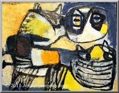 Karel Appel, (1921-2006) De directeur van het Stedelijk Museum Amsterdam, Willem Sandberg, stimuleert jonge kunstenaars zo veel mogelijk en steunt de Cobra-groep dan ook door hen zeven grote ruimten in het museum ter beschikking te stellen om hun werk te exposeren. De kunstenaars zijn arm en maken door geldgebrek voornamelijk kleinere werken. Om de ruimten alsnog te kunnen vullen, geeft Sandberg hen een voorschot om materiaal te kopen en grotere werken te produceren.