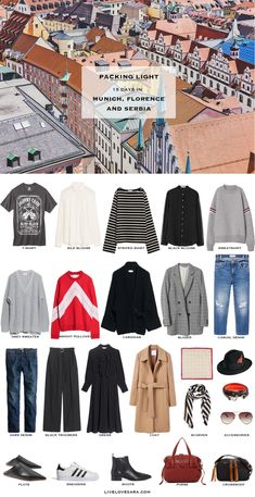 What to Pack for Munich, Florence, and Serbia Packing Light List | What to What to Pack for Munich | What to What to Pack for Florence | What to What to Pack for Serbia | Packing Light | Packing List | Travel Light | Travel Wardrobe | Travel Capsule | Capsule |