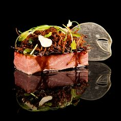 Sous vide beef short rib pairs with crispy beef salad and a sweet-pungent glaze. I Love Food, Good Food, Crispy Beef, Modernist Cuisine, Eat And Go, Recipe Images, Molecular Gastronomy, Culinary Arts, Food Dishes