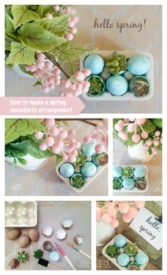 Freshen up your home with spring decor! DIY tutorial for spring succulents arrangement! #MichaelsMakers DIY Showoff