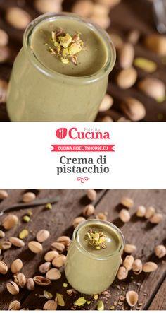 Crema di pistacchio Dessert Drinks, Yummy Drinks, Sweets Recipes, Cake Recipes, Nutella, Pistachio Cream, Ricotta, Sweet Sauce, Italian Desserts
