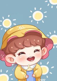 Embedded Exo Kokobop, Park Chanyeol Exo, Kpop Exo, Chanbaek Fanart, Kpop Fanart, Baekyeol, Kpop Drawings, Cute Drawings, Bts Chibi
