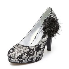 Cloth/Lace Upper Chunky Pumps with Lace/Satin Flower