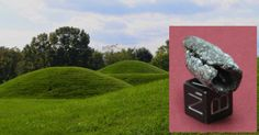 Main: Hopewell burial mounds in Ohio (CC by SA 3.0). Inset: One of the meteoritic iron beads found in a Hopewell mound.