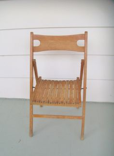 Vintage Child's Chair Wooden Slat Folding by NanNasThings on Etsy