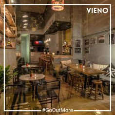 New bars to enjoy a drink on the house with your friends! Surprise yourself with VIENO app. Drinking Every Night, Cool Bars, Restaurant, App, Drinks, Places, Table, House, Home Decor