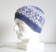 Blue Fair Isle Hand Knit Hat, Alpaca Adult Beanie, Ski Wool Hat Hand Knitted Sweaters, Knitted Hats, Hand Knitting, Knitting Patterns, Alpaca Wool, Mittens, Ski, Etsy Seller, Beanie