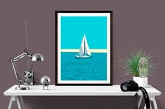 Nautical Art Print of Sailing Boat Coastal by SimplyLoveArtStudio