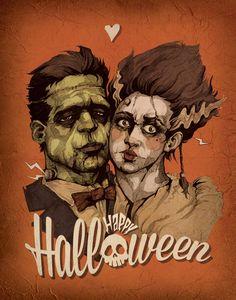 Happy Holiday from The Frankensteins by *cheshirecatart on deviantART