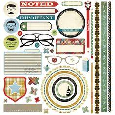 Basic Grey Oxford Element Stickers 12x12 Sheet