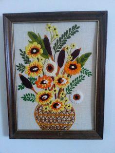 Vintage Crewel / Vintage Framed Needlework / by HipCatRetroVintage, $19.00