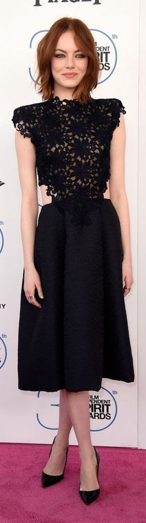 Who made Emma Stone's lace dress and black pumps?