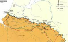 """Map of the Roman """"Limes"""" in Nether-Germania"""