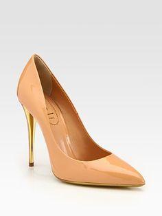 Yves Saint Laurent - Two-Tone Heel Patent Leather Pumps - Saks.com