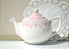 Pink and grey teapot detailed with white accent by Dprintsclayful