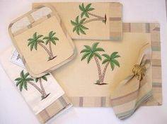 Hawaiian Kitchen Decor 4pc Tropical Hawaiian Palm Tree