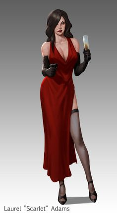 """This is Laurel """"Scarlet"""" Adams. She is another mafia crew member, seductive and witty Scarlet is the more subtle option and far more reliable than Knuckles. Thanks for looking!"""