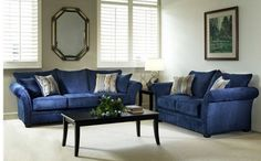 Contemporary style Hughes Serta Elizabeth royal blue sofa and loveseat set. High quality Serta-made upholstery. An elegant set that will add flair to any living room. Includes two accent pillow. Living Room Upholstery, Living Room Furniture Layout, Furniture Upholstery, Living Room Chairs, Furniture Decor, Paint Upholstery, Upholstery Cleaning, Blue Furniture, Furniture Arrangement