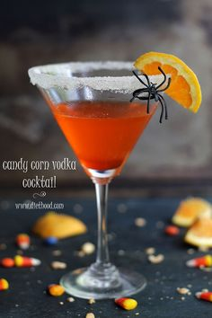 Candy Corn Vodka Cocktail | www.diethood.com | www.anightowlblog.com | Homemade Candy Corn infused Vodka mixed with Orange Juice and Orange Liqueur. | #vodka #recipe #cocktail #halloween