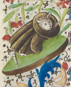 """Lookin' Good & Feelin' Gorgeous,"" from a century medieval manuscript Medieval Life, Medieval Art, Medieval Fantasy, Medieval Paintings, Old Paintings, Medieval Manuscript, Illuminated Manuscript, Ugly Cat, Book Of Hours"