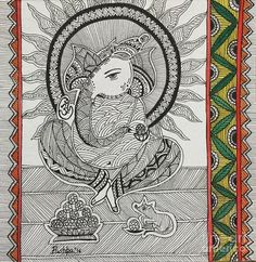 Madhubani-Lord Ganesha Art Print by Pushpa Sharma. All prints are professionally printed, packaged, and shipped within 3 - 4 business days. Ganesha Art, Lord Ganesha, Thing 1, Madhubani Painting, Lord Vishnu, Indian Paintings, Girl Cartoon, Indian Art, Doodle Art