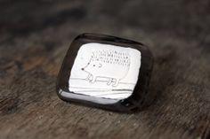 Glass Brooch with Hedgehog  Brooch Pin  Glass Jewelry. by stikline, $16.00