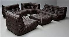 Lot: 4286077Michel Ducaroy. Lounge sofa set, model Togo, dark brown leather (5)
