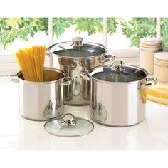 """Stainless Steel Stock Pot Set : With tempered glass lids .Dishwasher safe . Large : 13 1/4"""" x 11"""" x 10 1/2"""" high.( 12 QT). Medium : 13"""" x 10"""" x9 1/2"""" high. (8QT). Small: 11"""" x 8 1/2"""" x 9"""" high ( 5.5 QT )   Only $ 99.95 . Item # . 14206 ( SMC ) .  E-mail :   beartree27@yahoo.com            www.beartreegiftshop.com ."""