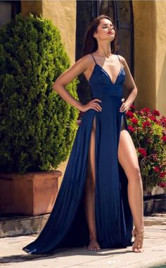 A-line Navy Blue Prom Dress ,Spaghetti Straps Thigh Splits Prom Dresses