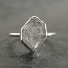 Large Herkimer Diamond Ring in Sterling Silver by anatomi on Etsy, $80.00
