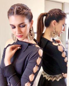 If you are looking for some new and trendy hairstyles to do, then this post is for you. Read the article and learn some amazing Kriti Sanon hairstyles. Daily Hairstyles, Easy Hairstyles For Long Hair, Formal Hairstyles, Braided Hairstyles, Bob Hairstyles, Indian Hairstyles For Saree, Indian Fashion Dresses, Indian Gowns Dresses, Designer Party Wear Dresses