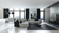 Sergey Baskakov's visualisation of a private interior in London, England, shows how imagery and shapes can add spice to simple materials. In this lounge and dining area, two wide-panned photographs centre the room, while rounded white and grey surfaces contrast against rectangular black. White orchids add life.