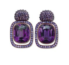 Hemmerle earrings in white gold, copper, amethyst and purple sapphire - photo c/o Hemmerle