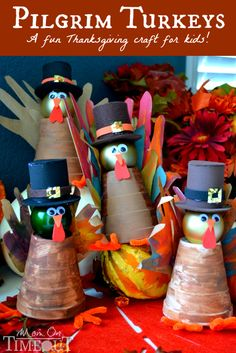 These adorable Pilgrim Turkeys are so fun to make and are just perfect for Thanksgiving! | MomOnTimeout.com