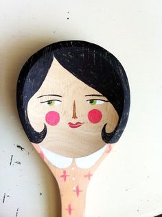 Big Bessie HUGE hand painted wooden spoon by noodleandlou on Etsy Wooden Spoon Crafts, Wooden Spoons, Painted Spoons, Hand Painted, Cute Crafts, Easy Crafts, Spoon Art, Marionette, Shape Crafts