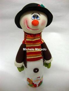 boneco de neve de garrafa | Michele Macedo Artes | Elo7