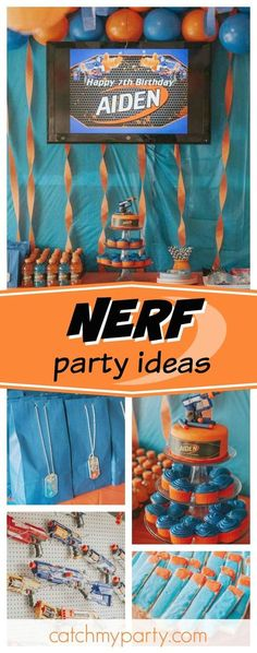 Check out this awesome Nerf birthday party! The cake looks like so. Best Picture For fortnite Nerf Nerf Birthday Party, Happy 7th Birthday, Boy Birthday, Birthday Ideas, Birthday Nails, Nerf Party Food, Birthday Recipes, Dinosaur Birthday, Birthday Wishes