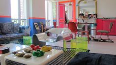 The fashion designer Manish Arora has turned his one-bedroom apartment into a kaleidoscope of bright hues. Home Interior Design, Interior Decorating, Paris Buildings, Living Colors, Small Apartment Design, Manish Arora, Loft, One Bedroom Apartment, Celebrity Houses