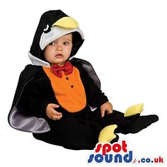 [+1]  Penguin Baby Size Plush Costume With A Red Bow Tie