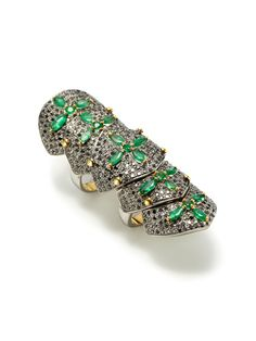 Blake Scott's jewelry is amazing!!    Emerald & Black Diamond Flexible Shield Ring by Blake Scott