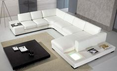 European Designer Sofa Large Size U Shaped White Leather Sofa