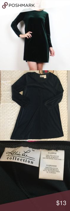 Vintage Crushed Velvet Long Sleeve Dress Dress is long sleeved crushed velvet. Size XL. Color: dark green. Fabric: 💯 polyester. I'm 5'7 and the dress comes right above the knee. Pre-owned, gently used condition with no flaws. Kathie Lee Dresses Long Sleeve