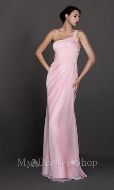 Pink Long Ruffled One Shoulder Prom Dress 2013