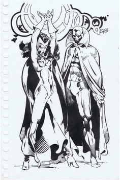 Scarlet Witch and Vision by Michael Golden *